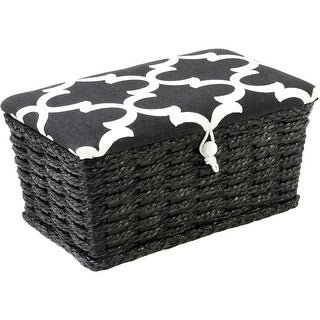 "Sewing Basket Rectangle -7.5""X4.5""X3.25"" Black & White Lid"