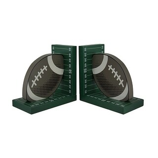 Football and Field Wooden Bookend Set - Green