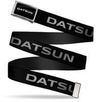 Datsun Text Fcg Black White  Chrome Datsun Text Black White Webbing Web Belt