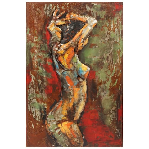 """""""Nude Study 3"""" Mixed Media Iron Hand Painted Dimensional Wall Décor"""