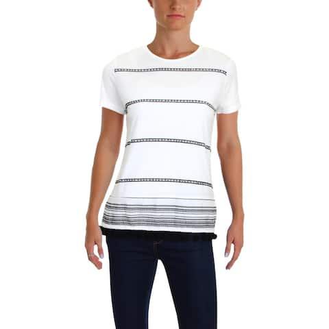 Lauren Ralph Lauren Womens Mehitabel T-Shirt Printed Beaded
