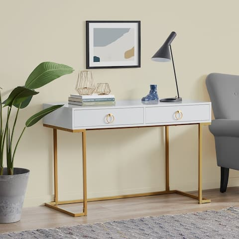 BELLEZE 2-Drawer Computer Desk Table, Wood & Metal, White & Gold - standard