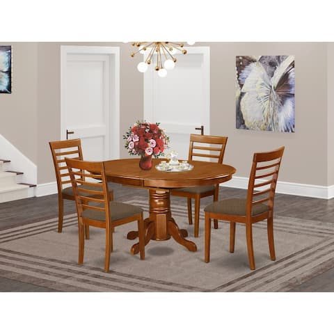 AVML5-SBR-C 5-Pc Dining room set-Oval Dining Table and 4 Dining Chairs with Linen Fabric Seat - Siddle Brown Finish