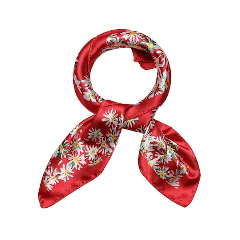 Women's Stain Print Square ScarvesKerchief Neck Scarf - Red Floral