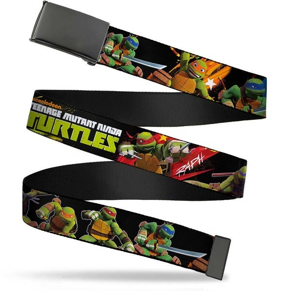 Blank Black Buckle Tmnt New Series Logo2 Group Action Pose Black Web Belt