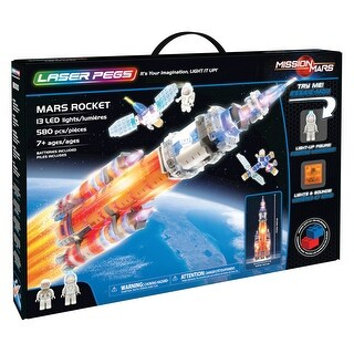 Laser Pegs Mars Rocket Light-Up Building Block Set - Space Ship Construction Bricks Toy with Sound - 580 Pieces
