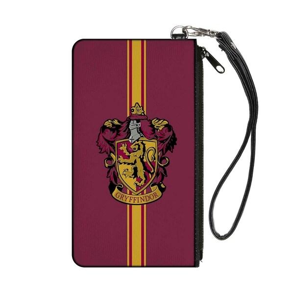 Gryffindor Crest Vertical Stripe Burgundy Gold Canvas Zipper Wallet