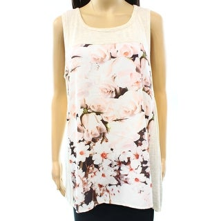 Bobeau NEW Beige Floral Printed Women's Size Large L Tank Cami Shell