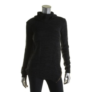 By Design Womens Pullover Sweater Asymmetrical Zip Turtleneck - s