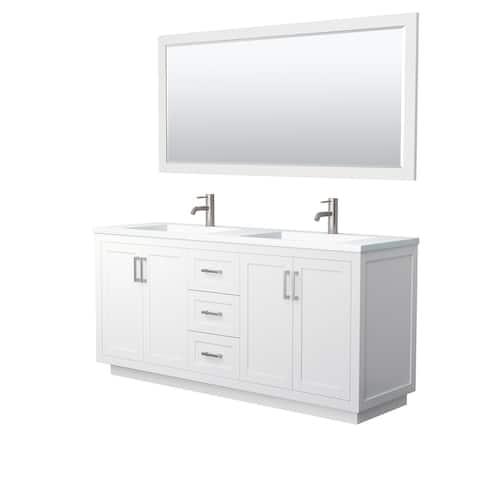 Miranda Double Vanity Set, 1.25-Inch Solid Surface Top, 70-Inch Mirror