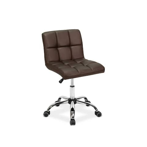 """TOTO Home Office Button-Tufted Desk Chair, Armless Thick Cushion, Adjustable Height 19""""-25"""", Coffee"""
