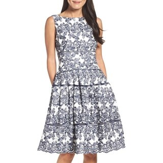 Embroidered Lace Midi Dress, Navy/White, 6