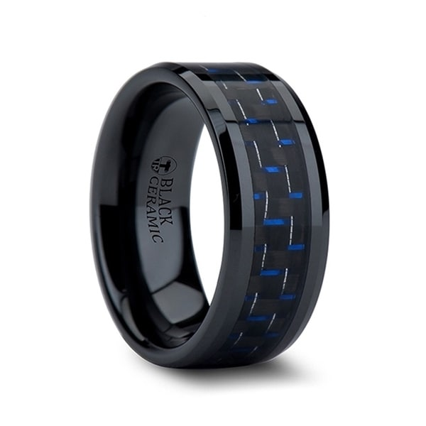 THORSTEN - AVITUS Black Beveled Ceramic Ring with Blue & Black Carbon Fiber Inlay - 10mm