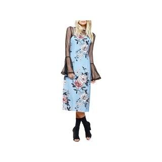 Minkpink Womens Slip Dress Floral-Print Sleeveless - XS