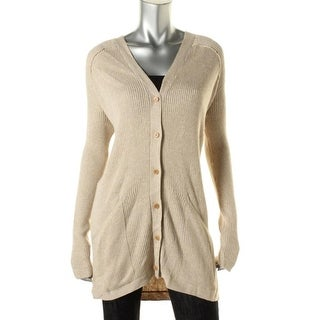 Studio M Womens Ribbed Knit Button-Down Cardigan Sweater - S
