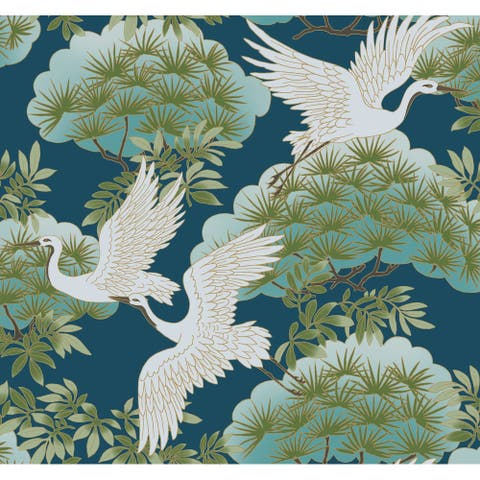 Glendora Sprig & Heron Blue Wallpaper