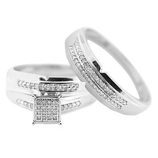 10K White Gold His and Her Rings Set 0.15ctw 3pc Set - White H-I