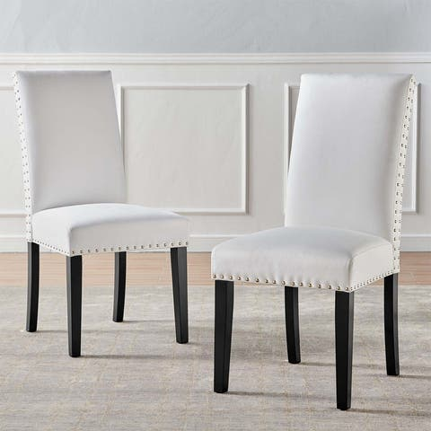 Silver Orchid Lind Velvet Nailhead Trim Dining Side Chairs (Set of 2)