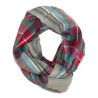 CTM® Women's Classic Plaid Check Pattern Infinity Loop Scarf - One size