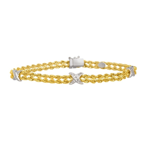 Braided Bracelet in 14K Gold-Bonded Sterling Silver - Yellow