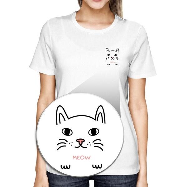 Meow Kitty Pocket T-shirt Back To School Tee Ladies Cute Shirt