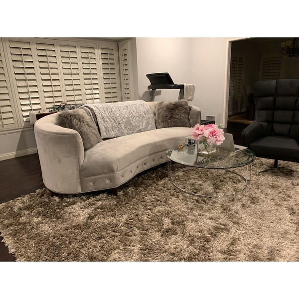 Chic Home Tamika Kidney Shaped Club Sofa In Tufted Velvet Down With Mix Cushions Cone Legs Couch On Free Shipping Today