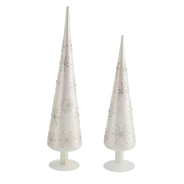 Set of 2 Silver Starburst Table Top Christmas Finial Decors 18.25""