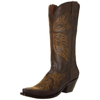 Stetson Womens Crystal Cowboy, Western Boots Leather Embellished