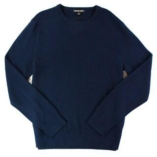 Michael Kors NEW Blue Mens Large L Waffle-Knit CrewNeck Wool Sweater