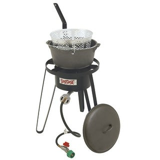 Bayou Classic B159 21 Inch Outdoor Fish Cooker and Cast Iron Fry Pot - Black