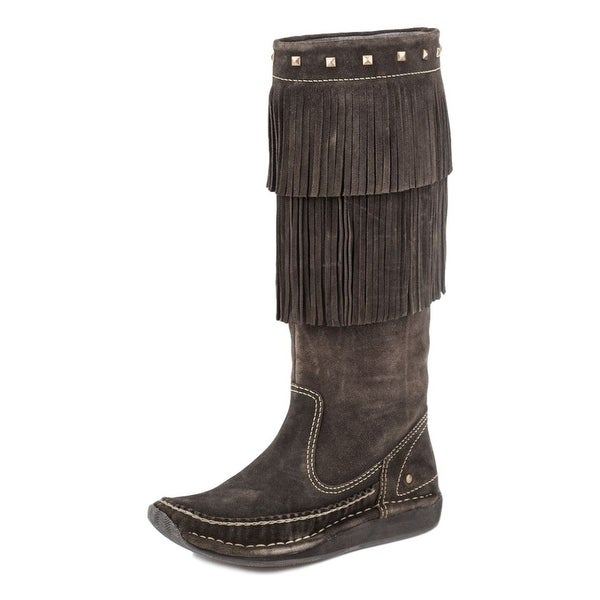 Roper Western Boot Womens Fringe Studs Brown