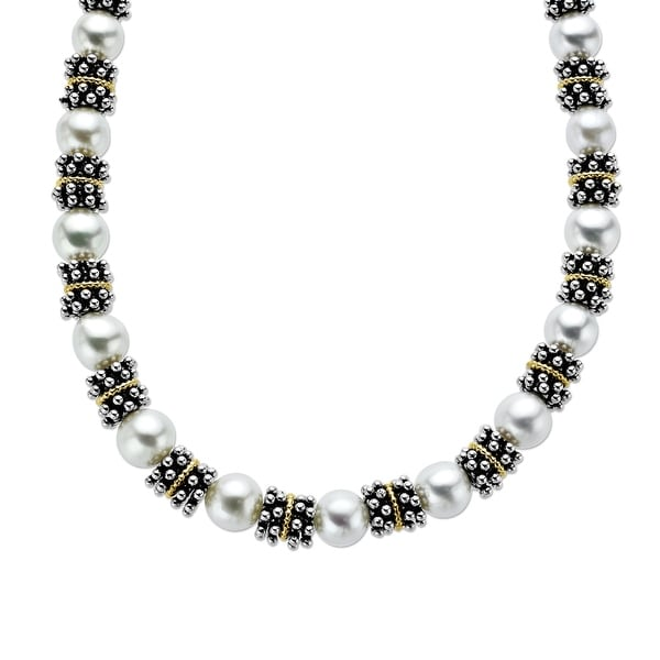 8.5-9 mm Freshwater Pearl Beaded Necklace in Sterling Silver and 14K Gold