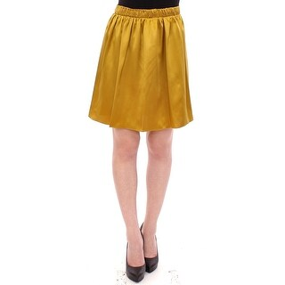 Andrea Incontri Andrea Incontri Gold Silk Solid Mini A-Line Skirt