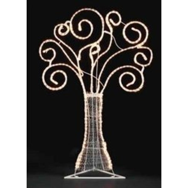 "48"" Pre-Lit White Swirl Rope Light Christmas Tree Outdoor Decoration"