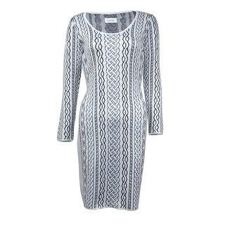 Calvin Klein Women's Chain Printed Scoop Neck Sweater Dress