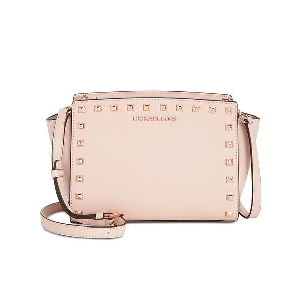 c3c91b3e8769a MICHAEL Michael Kors Selma Studded Medium Leather Messenger Bag Soft Pink Rose  Gold - One