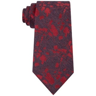 Calvin Klein NEW Red Charcoal Mens One Size Hot Floral Classic Neck Tie