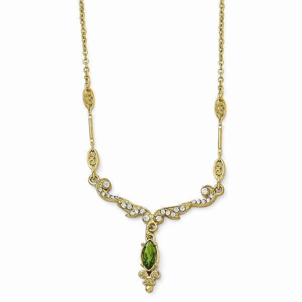 Goldtone Green & Clear Glass Necklace - 16in