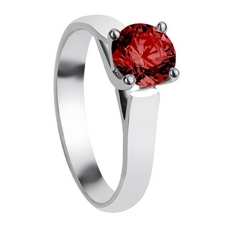 CARNATION Cathedral Style Four Prong Ruby Palladium Engagement Ring with Polished Finish - Red
