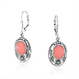 Bling Jewelry Pink Synthetic Coral Flower Leaf Silver Leverback Earrings