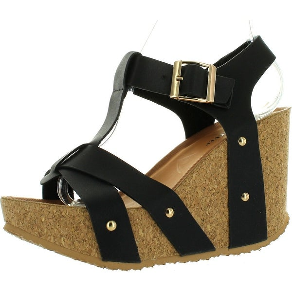 Forever Maya-13 Women's Adjustable T-Strap Wedge Heel Platform Sandals