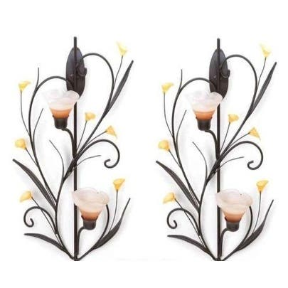 2 Amber Lilies Candle Wall Sconces - Yellow