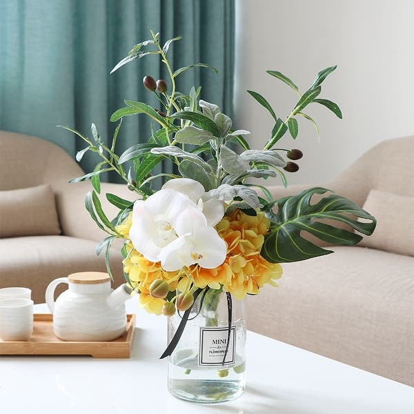 Shop Floralgoods Yellow Hydrangea White Orchid And Greenery In Vase 16 Tall Overstock 26396367