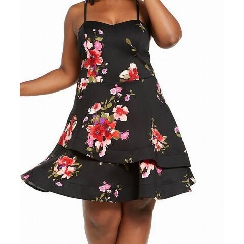 Sequin Hearts Women's Dress Black Size 20 A-Line Double Skirt Floral