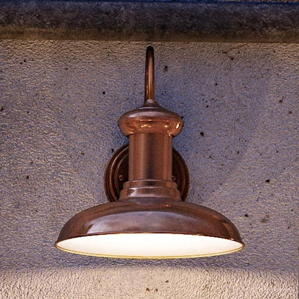 """Luxury Industrial Chic Outdoor Wall Light, 12.375""""H x 12""""W, with Nautical Style Elements, Solid Copper Finish by Urban Ambiance. Opens flyout."""