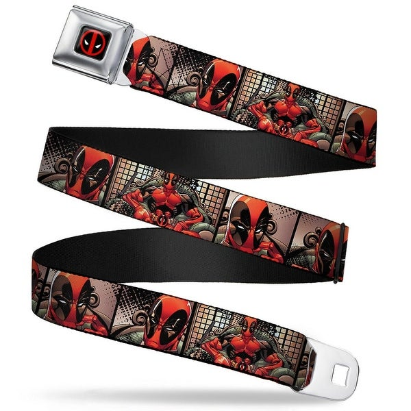 Marvel Universe Deadpool Logo Full Color Black Red White Deadpool Sitting Seatbelt Belt