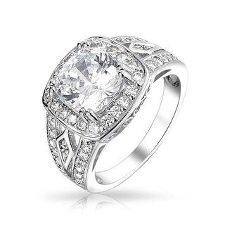 Bling Jewelry .925 Silver 4ct CZ Vintage Style Engagement Ring