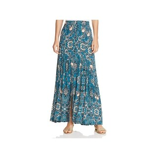 En Crème Womens Maxi Skirt Floral Print Split Hem