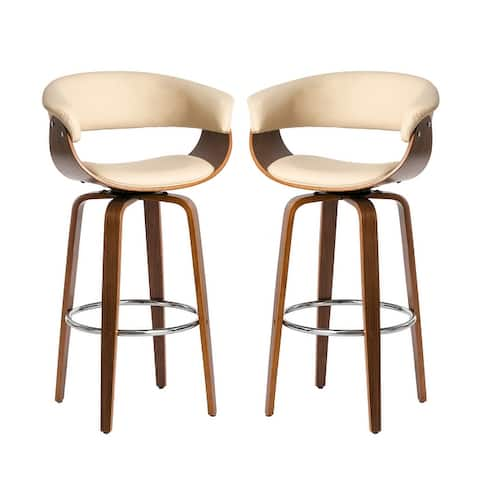 Glitzhome Set of 2 Mid-century Modern Swivel Bar Stool