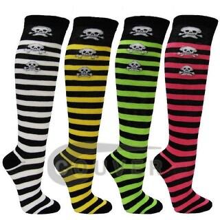 Skull Stripe Ladies Cute Colorful Design Knee High Socks Assorted 4-Pack